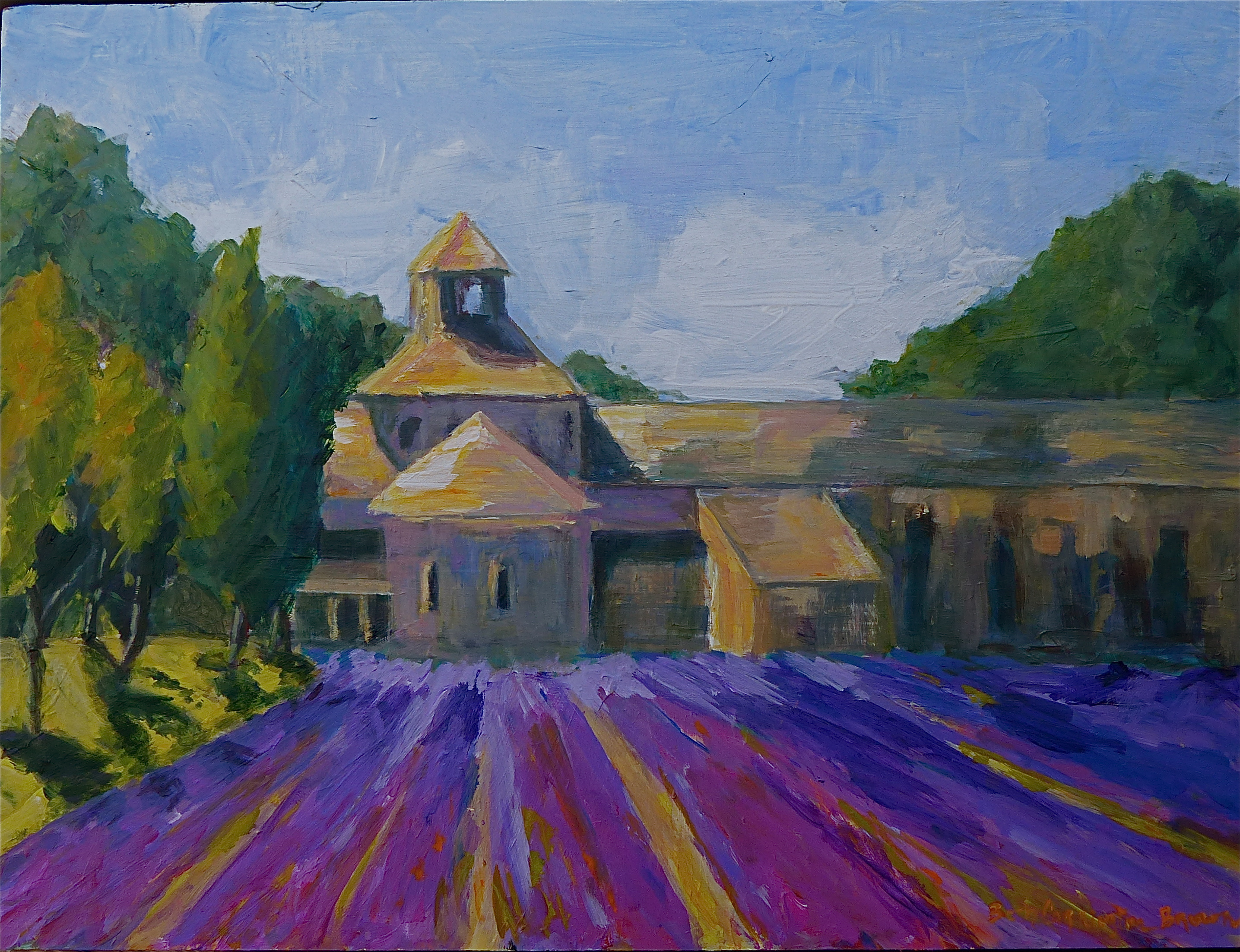 Boldly painted, brilliant colors of the lavender fields of Provence at Abbaye de Senanque
