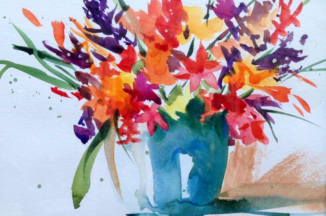 loose colorful floral watercolor
