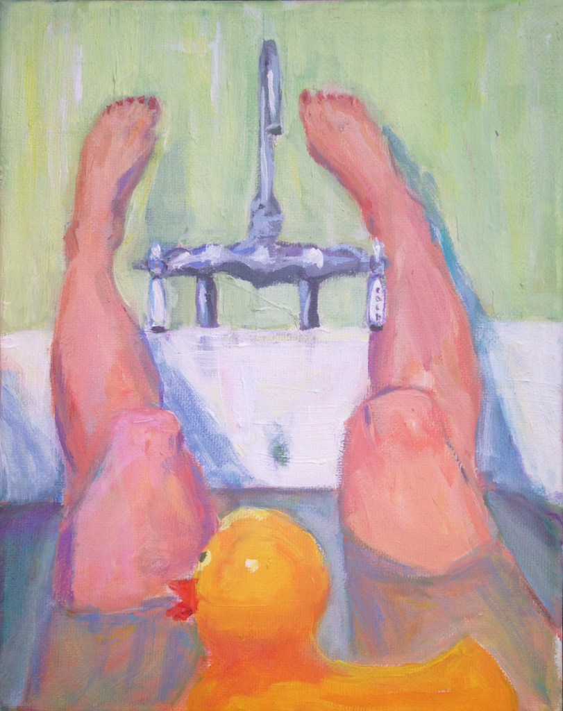 painting of legs in a bathtub with a rubber duck