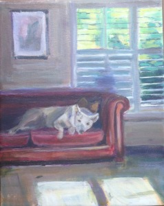 painting of dog napping on couch with sunlight streaming through window